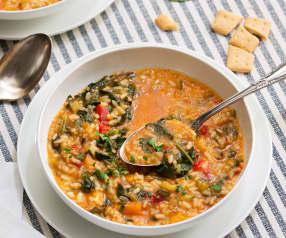 Arroz caldoso con verduras y espinacas