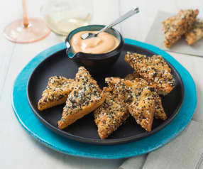Prawn toast with Sriracha® and sesame mayonnaise
