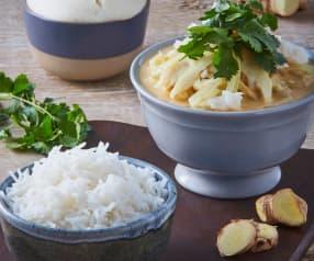 Curry de pescado con arroz basmati y bollos de yogur al vapor
