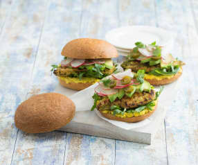 Jalapeño and lime chicken burger with corn smash