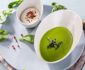 Vellutata di spinaci e crema al Gorgonzola