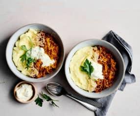 Hackfleisch-Linsen-Eintopf mit Kartoffelstock