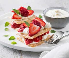 Berry and cream filo stacks