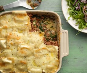 Ravioli Lasagne with Rocket Salad