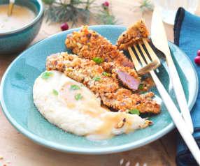 Aiguillettes de canard panées aux noisettes, purée de céleri et sauce au cidre
