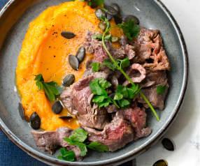 Bœuf et graines de courge, purée de patate douce