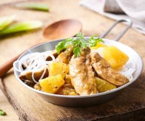 Aiguillettes de canard, curry et ananas