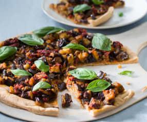 Pizza integral con berenjena asada picante