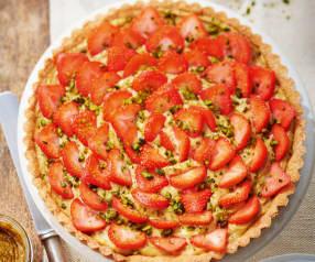 Tarte aux fraises, pâte sablée à la pistache