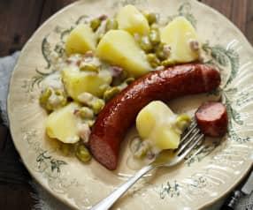 Dicke Bohnen mit Kartoffeln und Mettwurst