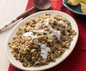 Lentejas con arroz y cebolla frita (Mujadarrah) - Irán