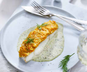 Pollock with Potato and Squash Crust with Chablis Sauce