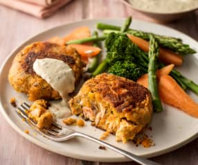 Salmon and Sweet Potato Fish Cakes with Steamed Vegetables