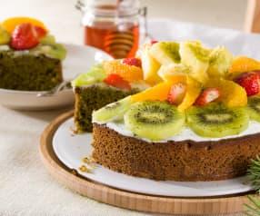 Bizcocho de espelta y té matcha con fruta