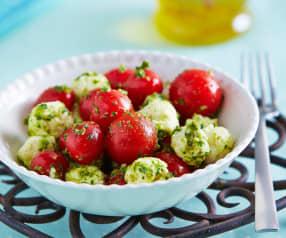 Ensalada de tomates y pesto de quelites