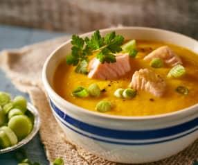 Süßkartoffel-Orangen-Suppe mit Lachs
