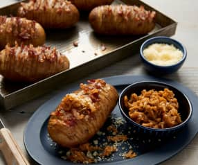 Hasselback Potatoes with Shallot Compote