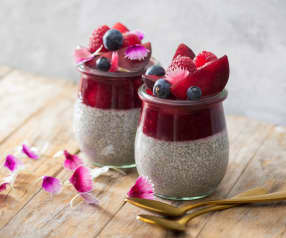 Plum and raspberry chia puddings