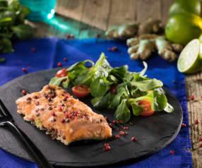 Salmone aromatizzato al lime e zenzero