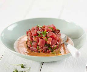 Tartare de thon et gaspacho
