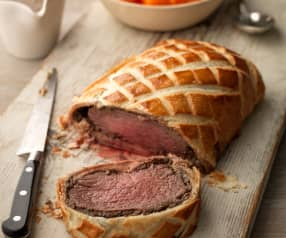 Beef Wellington with Mashed Potatoes, Steamed Carrots and Madeira Sauce