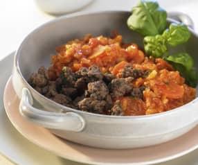 Risotto de bœuf, carotte et tomate