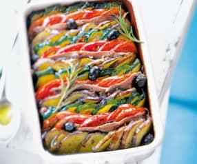 Tian aux anchois, olives et romarin