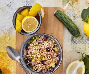 Insalata di riso integrale, tonno e zucchine