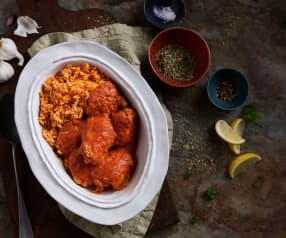 Slow-cooked Chicken in Red Pepper Sauce with Rice