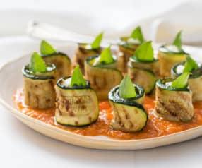 Zucchini bites with charred tomato dressing