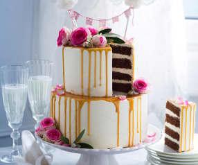 Vanille-Schoko-Hochzeitstorte mit Karamelldripping