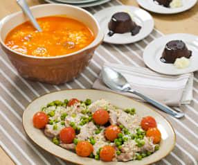 Menú: Garbanzos con chorizo. Contramuslo de pollo al ajillo con cherrys y guisantes. Flan de chocolate