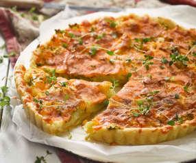 Quiche aux pommes de terre nouvelles, ciboules et cheddar
