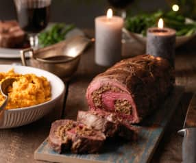 Fillet of Beef with Porcini Parmesan Stuffing and Red Wine Gravy