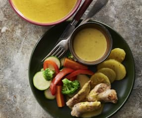 Menu with vegetable velouté, chicken with mustard sauce and steamed vegetables