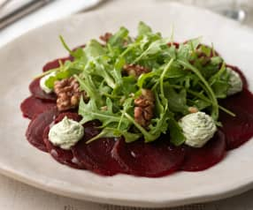 Beetroot Carpaccio with Goat's Cheese and Rocket