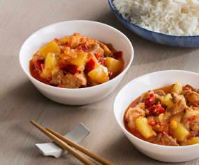Cerdo agridulce y arroz blanco al vapor - China