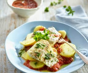 Seebarsch mit Kräuter-Tomaten-Sauce