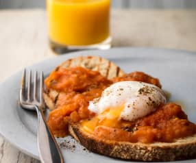 Smashed Plum Tomato Bruschetta with Poached Eggs