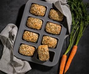 Pães de cenoura e cereais