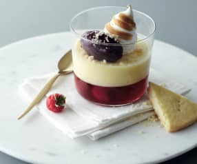 Lemon and raspberry trifle with blueberry sorbet
