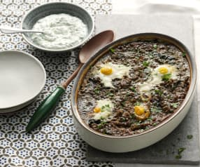 Baked Eggs in Tomato and Lentils with Goat's Cheese Sauce