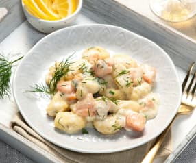One Pot Gnocchi in Wein-Dill-Sauce mit Lachs