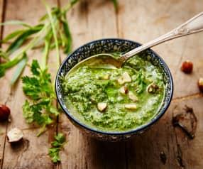 Pesto herbes anisées, pecorino et noisettes