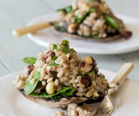 Herbed mushrooms with pearl barley and roasted hazelnuts