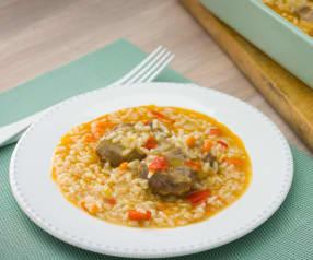 Carrilleras con arroz al aroma de jerez