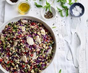 Salada de bochechas de bacalhau mediterrânica