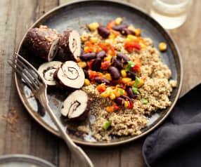 Ballotine de poulet au cacao, quinoa aux légumes et sauce piment