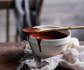Hot cacao fudge sauce