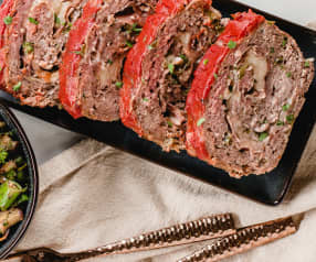 Cheesy Stuffed Meatloaf with Broccolini and Eggplant